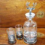 Mini Decanter Pewter Stag Head Set Personalised, ref MDSH